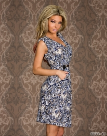 Blue Leopard Print  Mini Dresses Vintage Dress