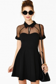 New design Mesh Skater Dress Black