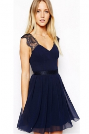 Lace winter women sexy club skater dress