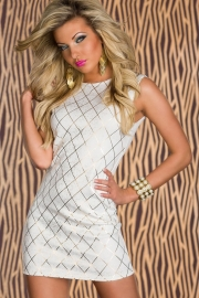 White Shining Square Hot Stamping Party Dress