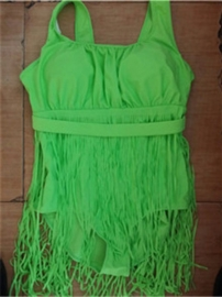 Plus Size Sexy One Piece Retro Tassel Bikini Swimwear Green