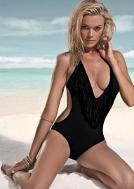 New arrival Fringe One-piece Swimwear Black