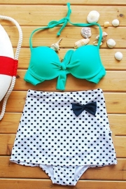 Turquoise Top Polka Dot High-waisted Bikini Swimwear