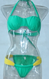 Sexy Green and Yellow Color Contrast Bra and G-String Swimwear Set