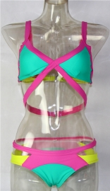 Green Bandage Color Block Bikini Swimsuit