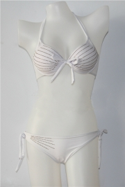 White Halter Paillette Swimmwear