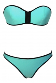 Green Strapless Top Low Rise Bottom Bikini