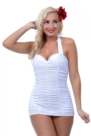 Plus Size Sexy New One Piece Pleated Bikini Swimwear in White