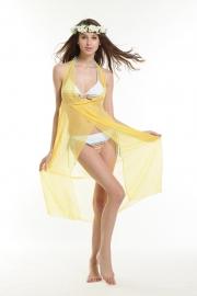 Transparent sexy beach dress light yellow