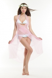 Transparent sexy beach dress pink