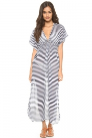 Naval Stripes Chiffon Short-sleeve Beach Long Dress