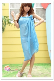 Sheer Chiffon Sarong Blue  Dress
