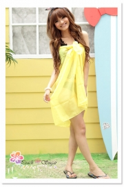 Sheer Chiffon Sarong Yellow  Dress