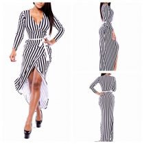 New Arrivals Fashion Beach Bikini cover up Sexy swimwear Black White Stripe Women one-piece cover-ups
