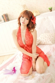 Red Lace Halter Transparent BabyDoll