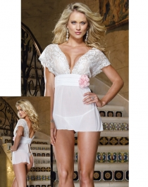 Bridal Lace Babydoll with Flower