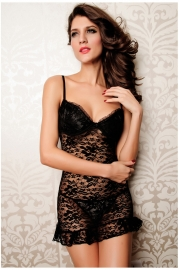Black Candy Lace Babydoll And Thong