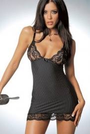 Stripe Microfiber with Lace Babydoll