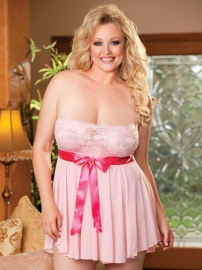 Plus Size Lace Top Baby Doll Pink