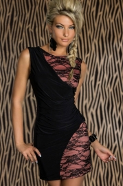 Lace Splice Mini Bodycon Dress Black and Pink