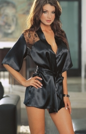Plus Size Sexy Charmeuse Sleepwear Black