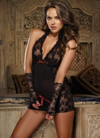 Constraint Enticement  Lace Open Back Chemise