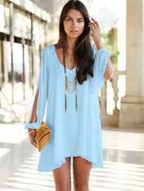 Sexy Plus Size Chiffon Off-The-Shoulder Dress Light Blue