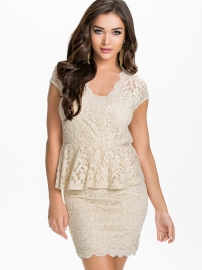 Apricot lace sexy women formal dress