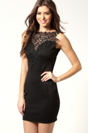 Charming sexy lady lace club dress Black