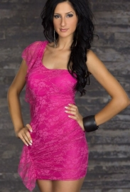 Rose Lace One-Shoulder Clubwear Dress