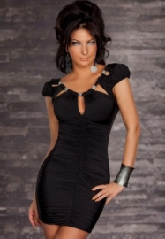 Black Cut out top Scrunched Dress