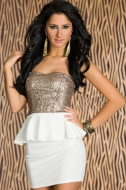 Graceful Gleam Sequins Strapless Dress White