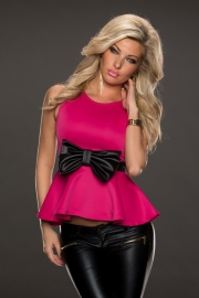 Sleeveless Casual Peplum Top with Bow Belt Royal Rosy