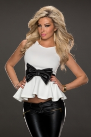 Sleeveless Casual Peplum Top with Bow Belt White