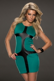 Cyan Leather Latticed Bodycon Dress Green