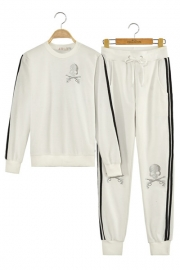 Skull with Cross Guns Sequined Long-sleeve Hoody and Long Pants Leisure Suits White