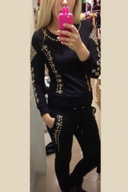 Fashion Skull Sequined Long-sleeve Hoody and Long Pants Set Black