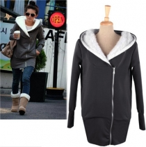 Personality inclined zipper Women Hoody