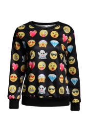 Black Long Sleeves Sweatshirt Print Noir Smiley