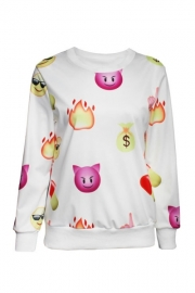 White Fashion Cute QQ Expressions Sweatshirt