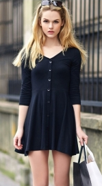 7 minutes of sleeve dress black