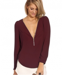 V-neck long-sleeve chiffon blouse with zipper