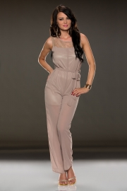 lace sleeveless jumpsuit embellished belt