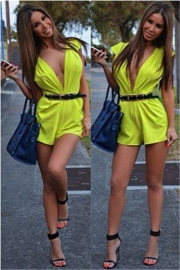 Sexy Green Sleeveless Rompers Women's Deep V neck Club Jumpsuits