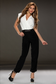 White Black Ruched V Neck Jumpsuit