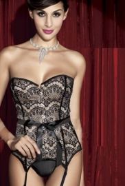 Fashion Corset with Black Lace Overlay