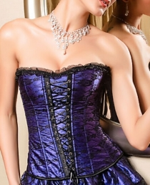 Flower Lace Boned Corset Purple