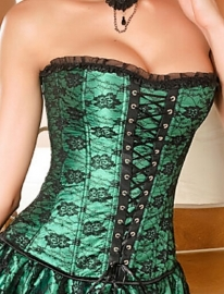 Flower Lace Boned Corset Green
