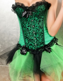 Elegant Lace Trim Corset Green