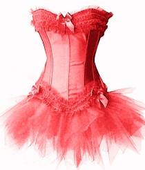 Corset with Mini Skirt Red